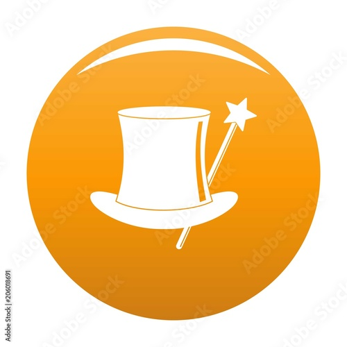 Hat with a wand icon. Simple illustration of hat with a wand vector icon for any design orange