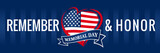 Memorial day, remember & honor with USA flag in heart banner blue. Happy Memorial Day vector background in national flag colors - 206020479