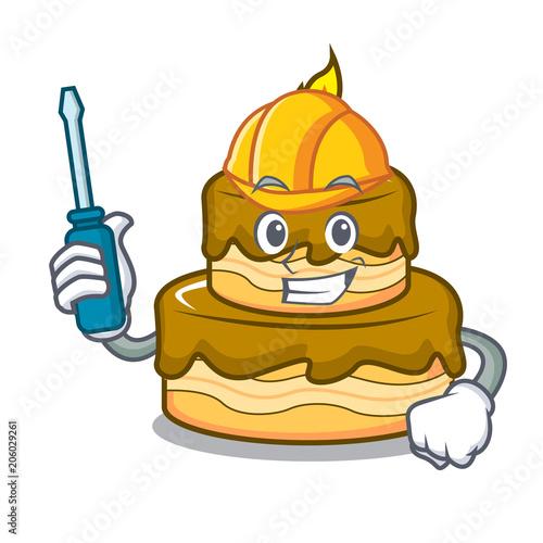 Automotive birthday cake mascot cartoon