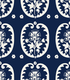Seamless indigo dye floral ethnic pattern. Vector ornament, traditional Russian motif with carnations, leaves  and arabesques, ecru on navy blue background. Textile, wallpaper print. - 206031617