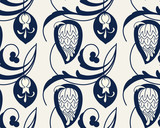 Seamless indigo dye floral ethnic pattern. Vector ornament, traditional Russian motif with garden flowers, navy blue on ecru background. Textile, wallpaper print. - 206031660