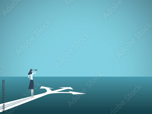 Wall mural Business or career decision vector concept. Businesswoman standing at crossroads. Symbol of challenge, choice, change, new opportunity.