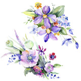 Colorful bouquet. Floral botanical flower. Wild spring leaf wildflower isolated. Aquarelle wildflower for background, texture, wrapper pattern, frame or border.