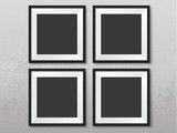 Frames on the wall. Photoframe mock up. Simple empty framings for your business design. Brick wall. Vector templates set for picture, painting, poster, lettering or photo gallery. - 206039041