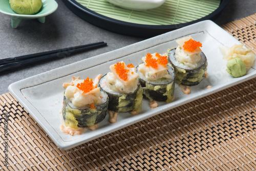 Aluminium Sushi bar abalone salad roll sushi with tempura