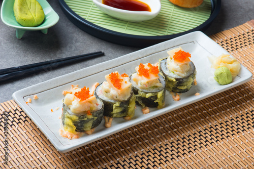 abalone salad roll sushi with tempura