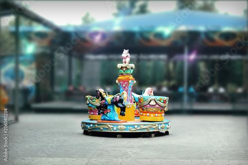 Fotobehang Amusementspark Carousel at Fun Fair