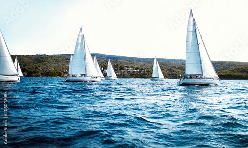 Foto Murales Portrait of sailing boats on open sea