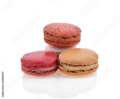 Plexiglas Macarons Sweet and colourful french macaroons or macaron on white background, Dessert.