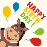 Happy birthday! Greeting card with funny horse and balloons in cartoon style.