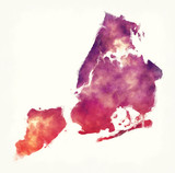 New York city watercolor map in front of a white background
