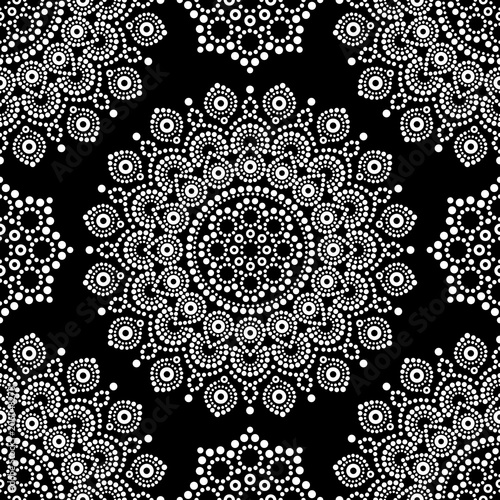Cotton fabric Dot painting monochrome vector seamless pattern with mandalas, Australian ethnic design, Aboriginal dots pattern in white