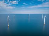 drone view windmill park at sea, windmill farm ocean - 206048880