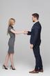 Young blonde businesswoman handshake with professional senior businessman