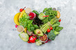 Alkaline diet concept - heart shaped fresh foods on rustic background - 206050085