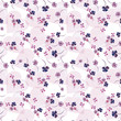 pattern with watercolor flowers, hearts - 206052818
