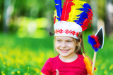 little funny girl playing native american in summer park - 206053835