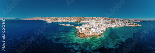 Foto Murales Panorama with drone at Little Venice Mykonos Greece