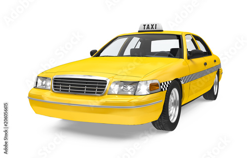 Sticker Yellow Taxi Isolated