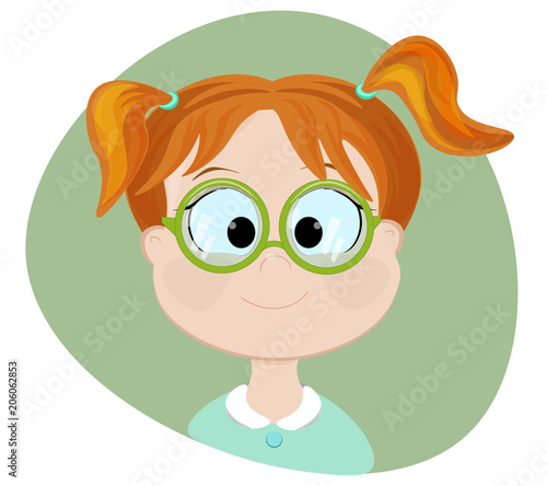 Clever girl.Flat illustration