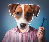 Young man with head of dog holding a razer on blue background. Collage