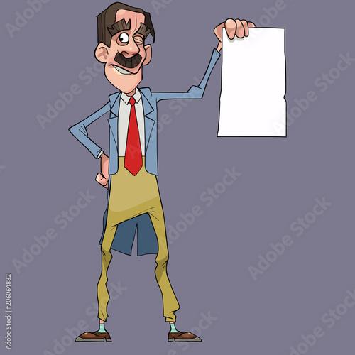 cartoon happy man in dress coat holding blank white sheet