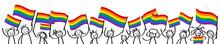 Unterstützer Der Lgbtq Community Schwenken Regenbogenfahnen Glückliche Strichmännchen Demonstration Protestmarsch Banner Sticker