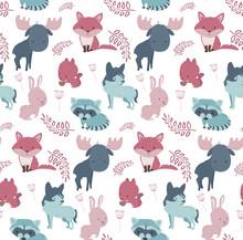 Cute Forest Animals Seamless Pattern Sticker