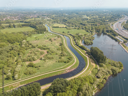 Wall mural Aerial drone river
