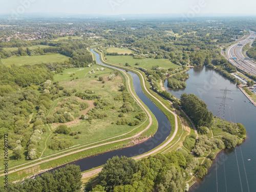 Plexiglas Pistache Aerial drone river