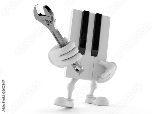 Fotobehang Muziek Piano character holding adjustable wrench