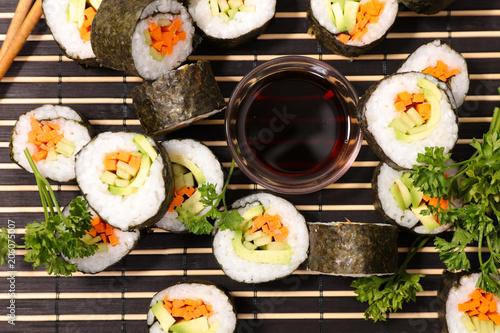Aluminium Sushi bar delicious sushi and soy sauce