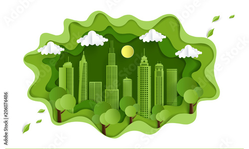 environmentally friendly city. design paper art and crafts