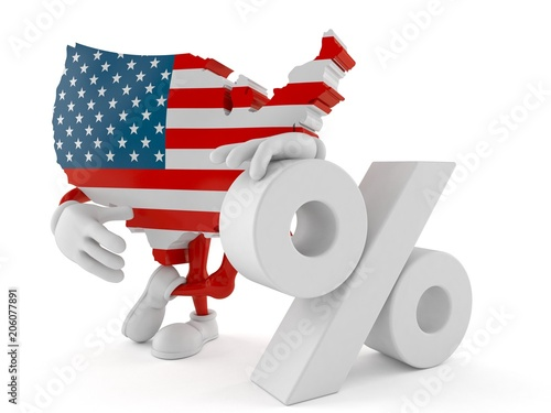 USA character with percent symbol