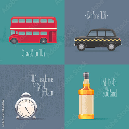 Set of vector illustrations with British symbols