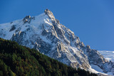 Snow covered Aiguille Du Midi in Chamonix, France