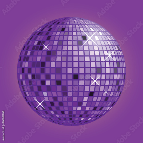 Disco ball with purple background vector - 206081208