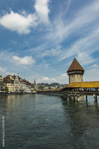 Chapel bridge and Water tower on Reuss river in Lucerne