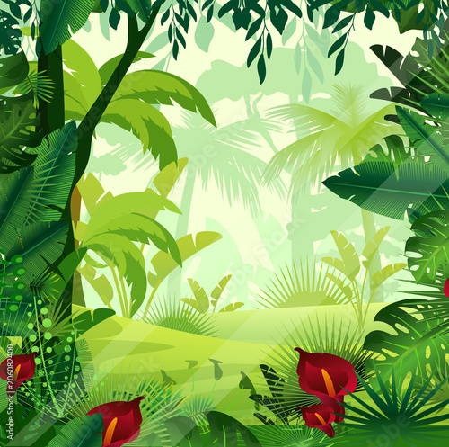 Fotobehang Groene Vector illustration of background jungle lawn in morning time. Bright colorful jungle with ferns, trees, bushes, vines and flowers in cartoon style.