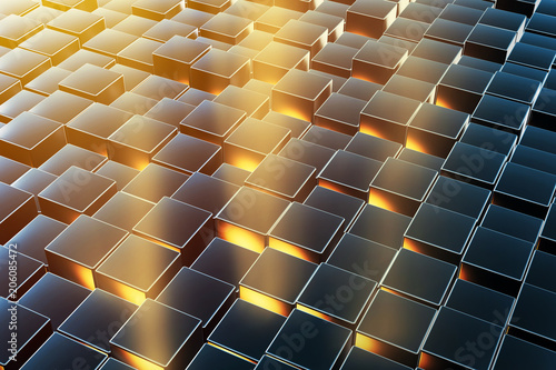 Abstract 3d business background made of metallic boxes