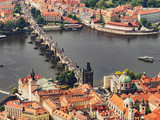 Aerial view of Charles Bridge and Old Town. View from the airship to the Charles Bridge in Prague. Panoramic view from airplane.