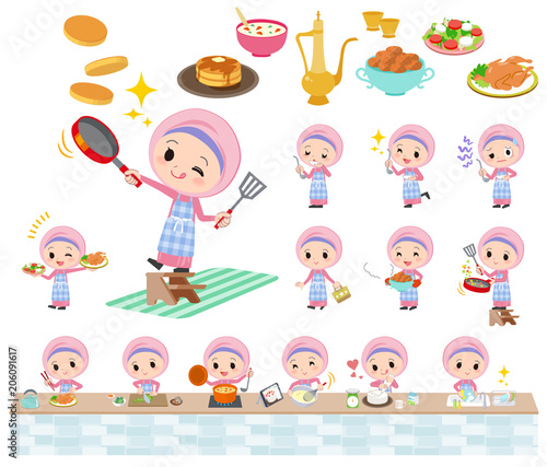 Arab Hijab style girl_cooking