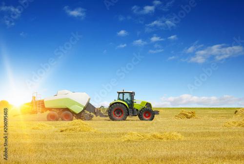 Fotobehang Trekker tractor on field