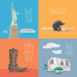 Set of vector illustrations with American symbols
