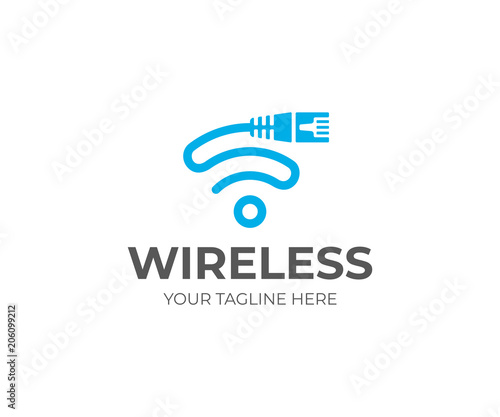 Ethernet Cord And Wifi Sign Logo Template Network Cable And Wi Fi