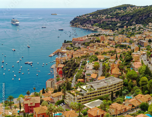 Fotobehang Nice Overlook of the resort community of Villefranche-sur-Mer on the Mediterranean Cote d'Azur near Nice, France