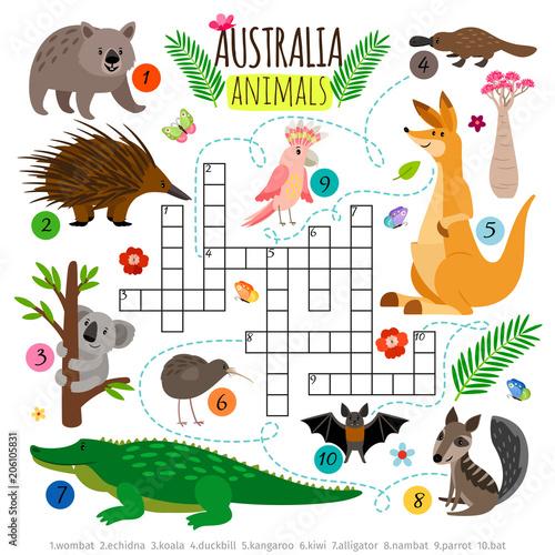 Australian animals crossword. Kids words brainteaser, word search puzzle vector game