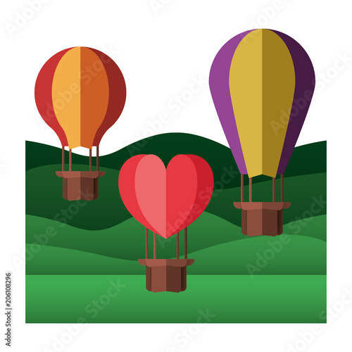 Wall mural landscape with balloons air hot flying vector illustration design