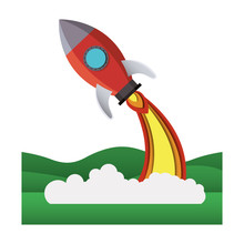 Landscape Scene  Rocket Flying  Illustration Design Sticker