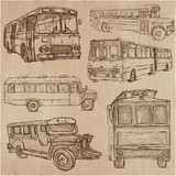 BUSES - An hand drawn vector collection. Freehand sketching. - 206111426